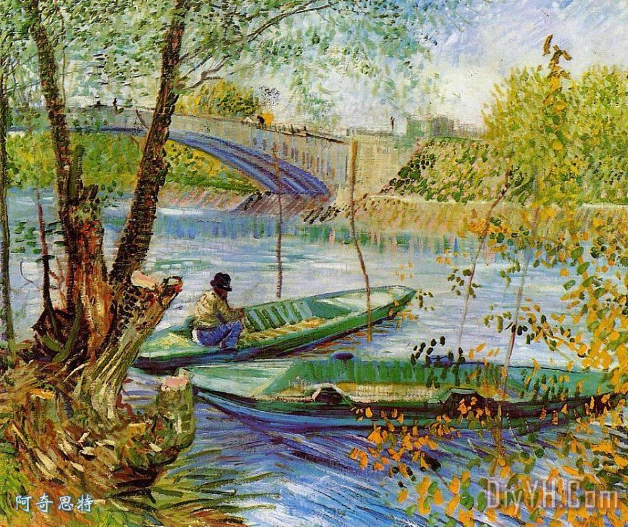钓鱼的春天装饰画_文森特·梵高钓鱼的春天