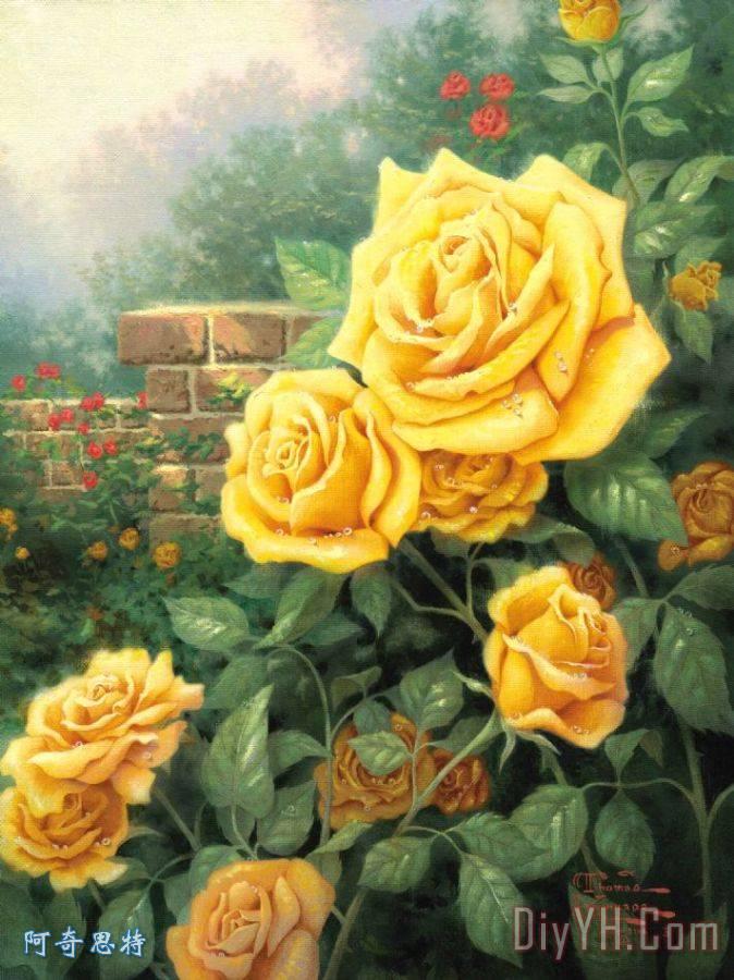 金凯德一朵完美的黄玫瑰 风景 花卉 花园 一朵完美的黄玫瑰油画定制 图片
