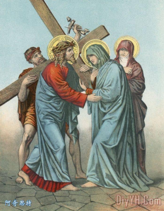 第四站耶稣背着十字架会见他最悲哀的母亲