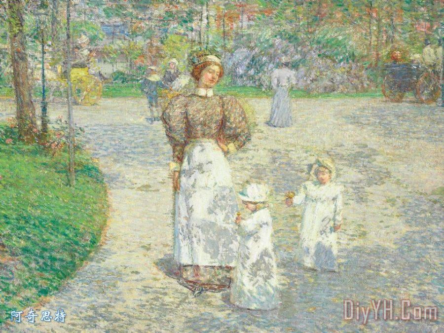 春天在中央公园装饰画_风景_人物_印象派_儿童_小孩