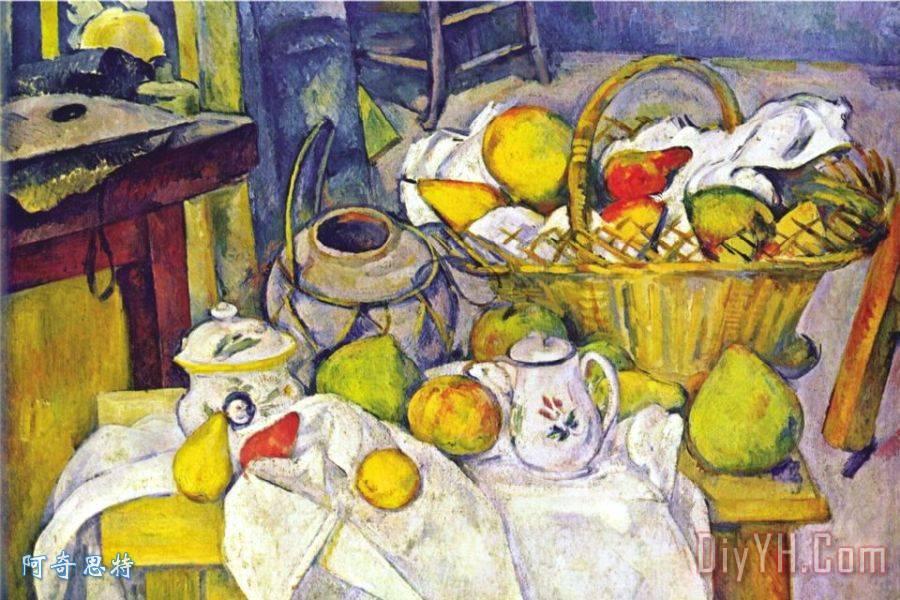 静物与水果篮装饰画 保罗 塞尚静物与水果篮 静物与水果篮油画定制