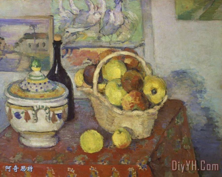 静物与水果篮和汤盖碗1888 1889装饰画 保罗 塞尚静物与水果篮和汤盖
