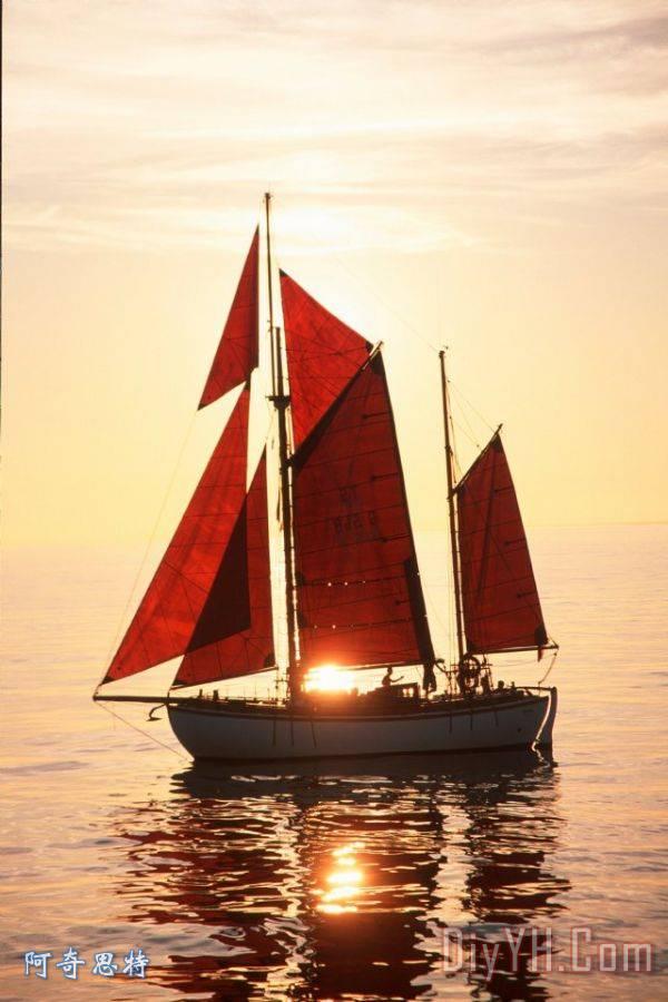 帆船装饰画_风景_海景_水_海洋_户外_飞船_帆船油画