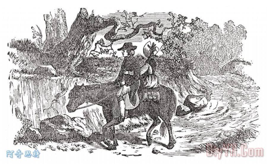 骑马装饰画_19世纪_外部,外貌_美国人_雕刻艺术_图片