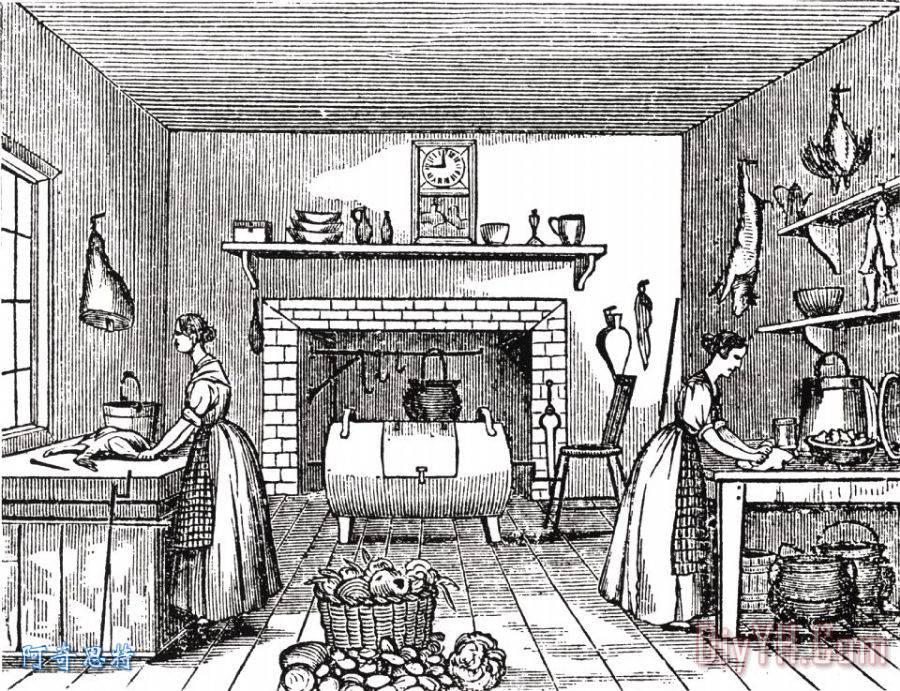 手绘厨房工作图片