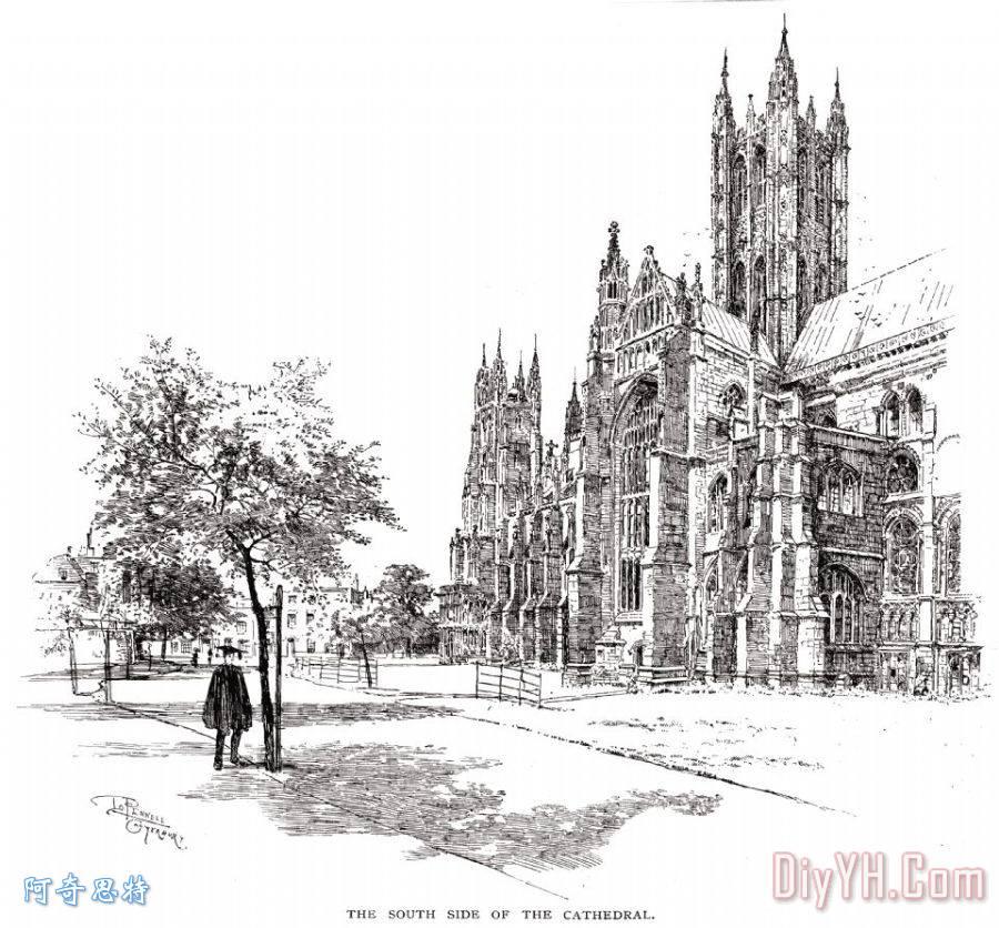 画 建筑 19世纪 建筑物 乐谱架 坎特伯雷大教堂油画定制 阿奇思特