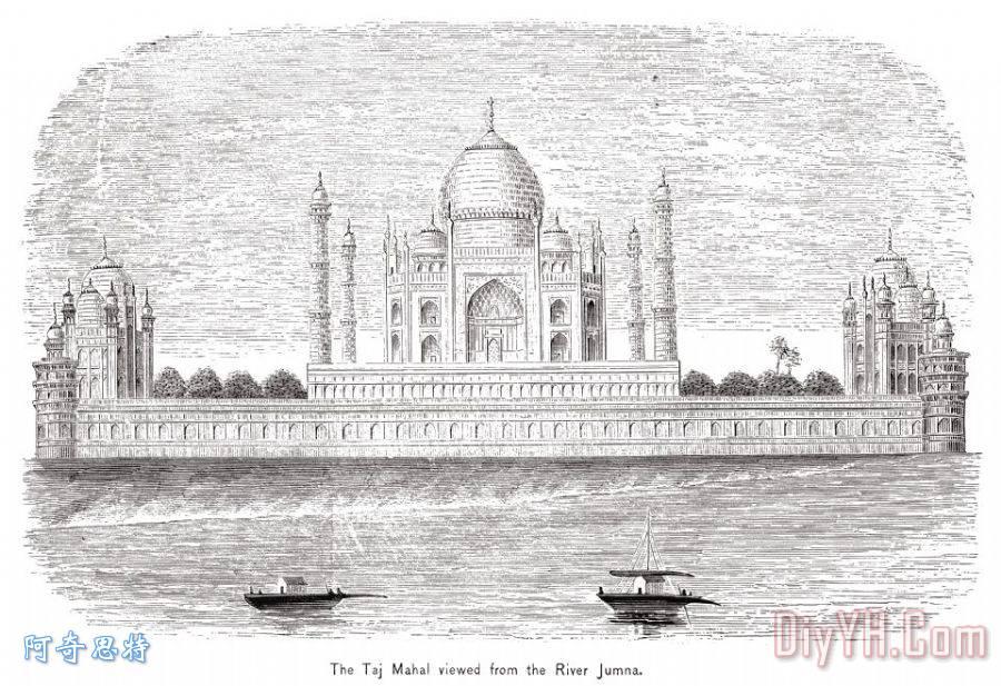 印度:泰姬陵装饰画_建筑_亚洲人_19世纪_建筑物_印度