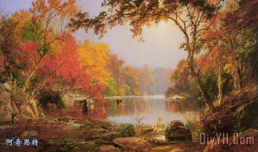 河景观秋季装饰画 风景 河景观秋季油画定制 阿奇思特