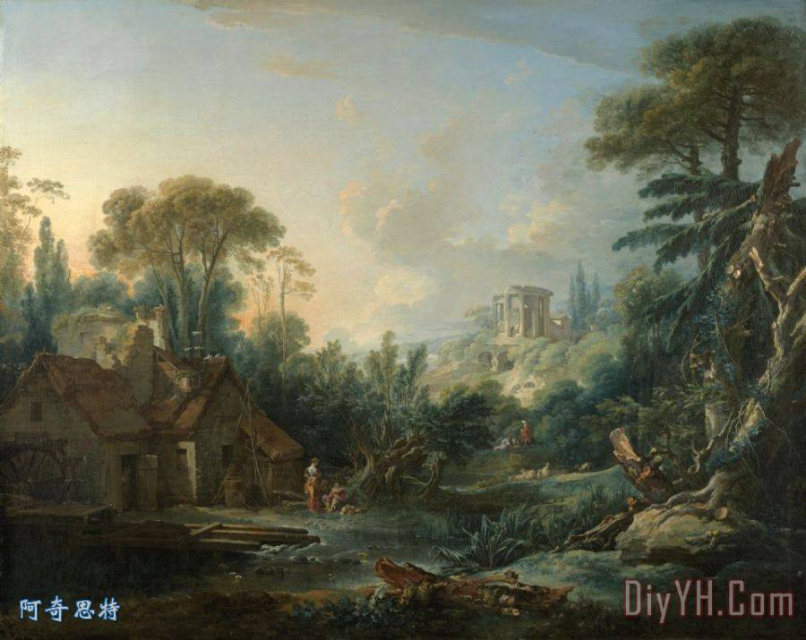 景观与水磨装饰画_弗朗索瓦·布歇景观与水磨_风景_与