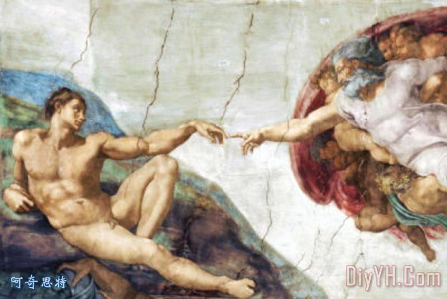 米开朗基罗创造亚当艺术海报打印