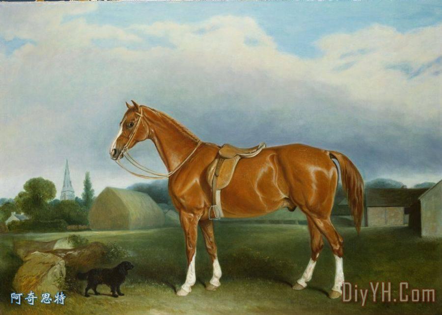 栗子猎人和猎犬由农场建筑物装饰画_风景_动物_狗_马