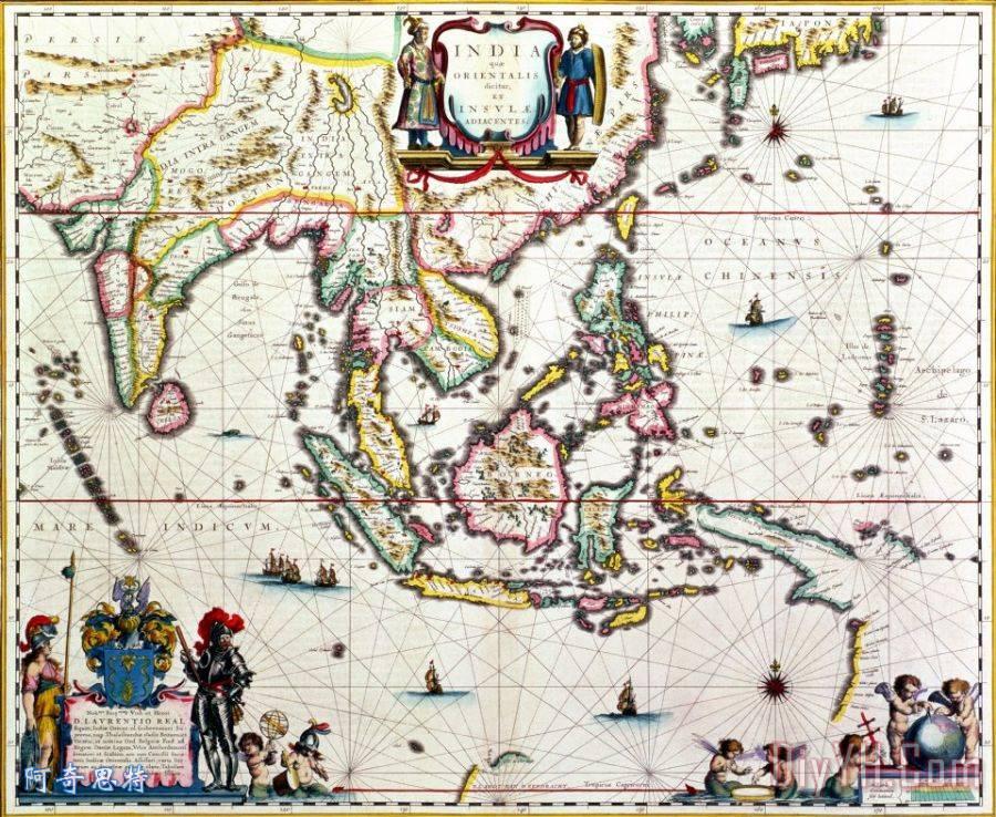 古董地图,显示东南亚和东印度群岛
