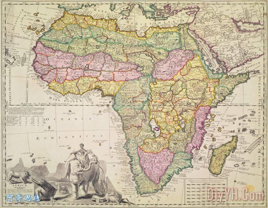 古董非洲地图装饰画_地形_地理学的_古老的_图表_古董