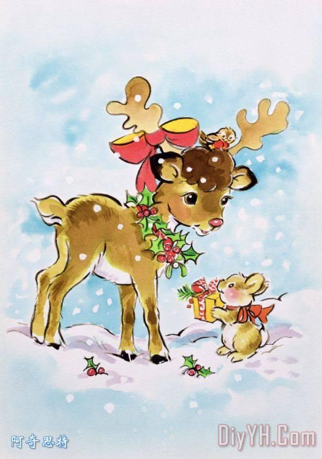 圣诞驯鹿和兔子装饰画