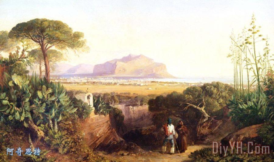 西西里岛巴勒莫装饰画_风景_山脉_神社_西西里岛油画