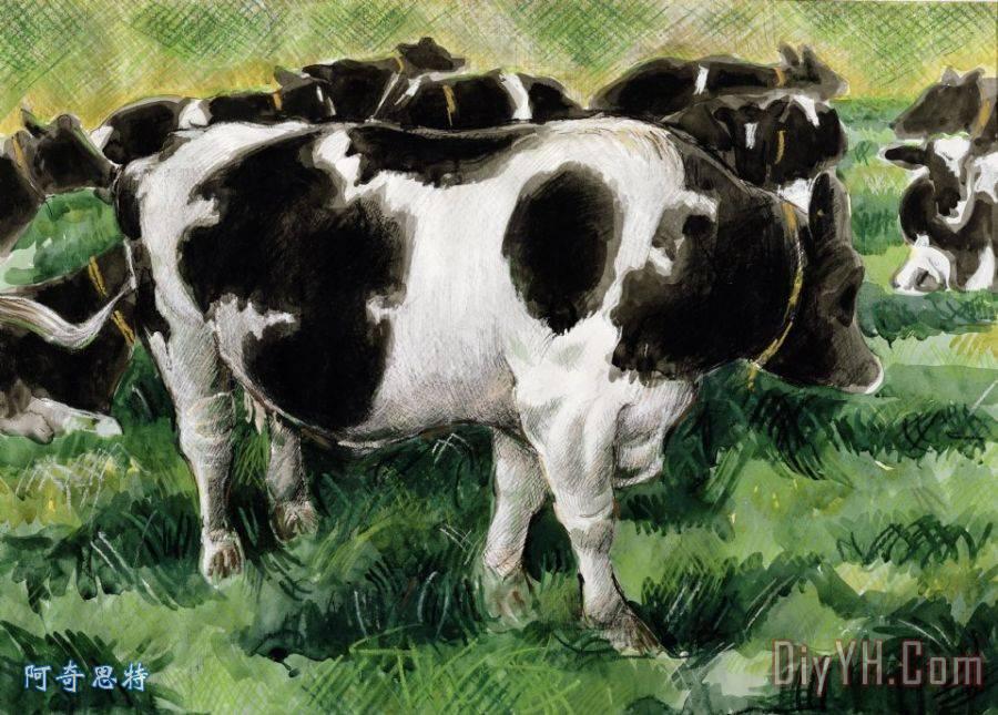 黑白花奶牛装饰画_动物