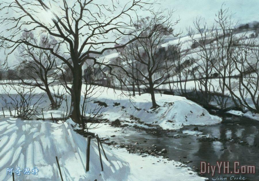 冬天的河装饰画_风景_小溪_太阳_树木_白色_冬天的河