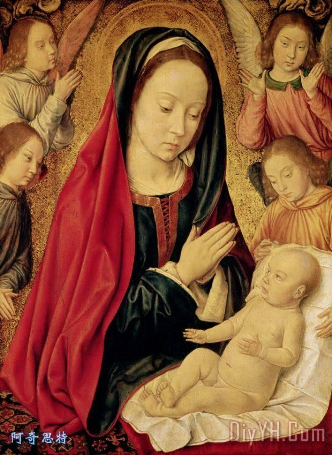 圣母子由天使爱慕 - 圣母子由天使爱慕装饰画