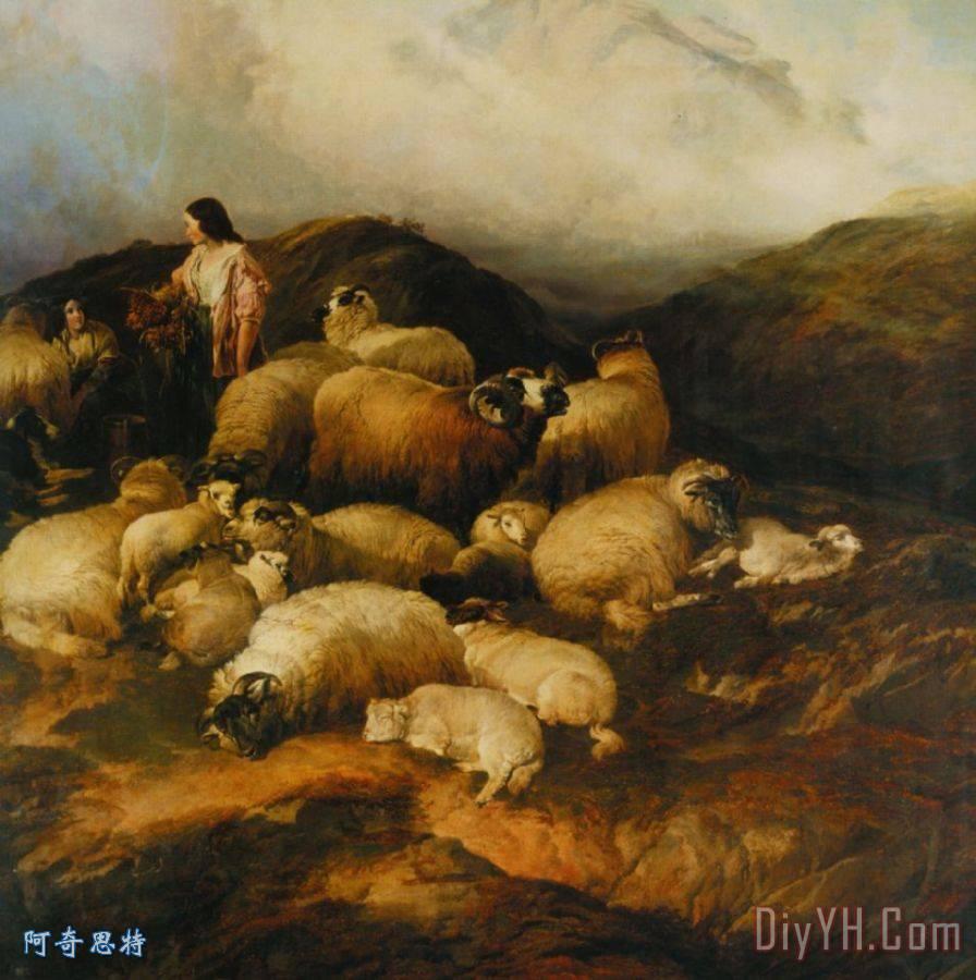 农民和羊装饰画_动物_农民和羊油画定制