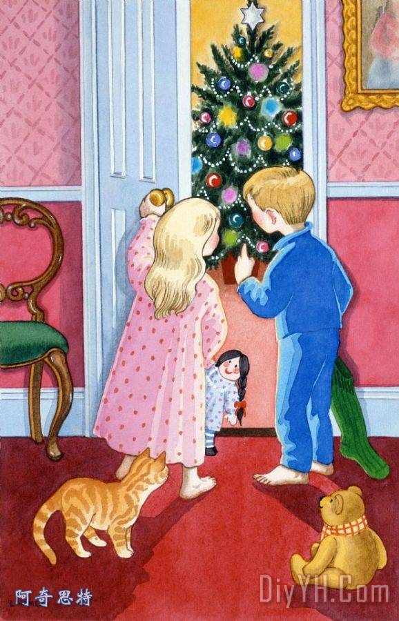 看圣诞树 - 看圣诞树装饰画