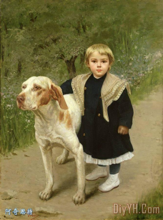 幼儿和大狗装饰画_人物_动物