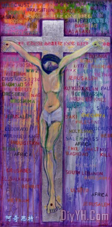 可杀人装饰画 耶稣 死亡 基督 十字架 不可杀人油画定制 阿奇思特图片