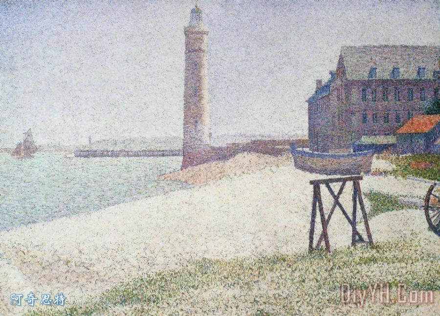 临终关怀和灯塔在翁弗勒尔装饰画_法国_艺术_欧洲