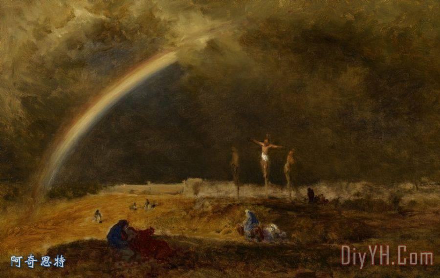 髑髅地装饰画 耶稣 三个 基督 十字架 黛安芬在髑髅地油画定制 阿奇思图片