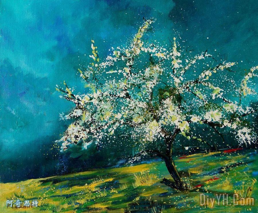 苹果树在春天装饰画_风景