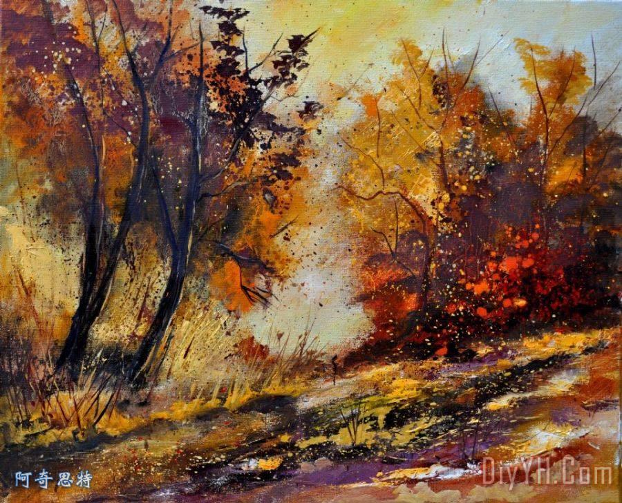 秋天在木装饰画_风景_树木_秋天在木油画定制_阿奇思特