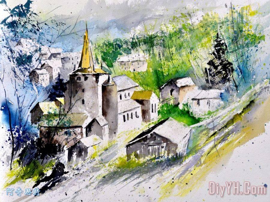 教堂建筑水彩渲染图图片