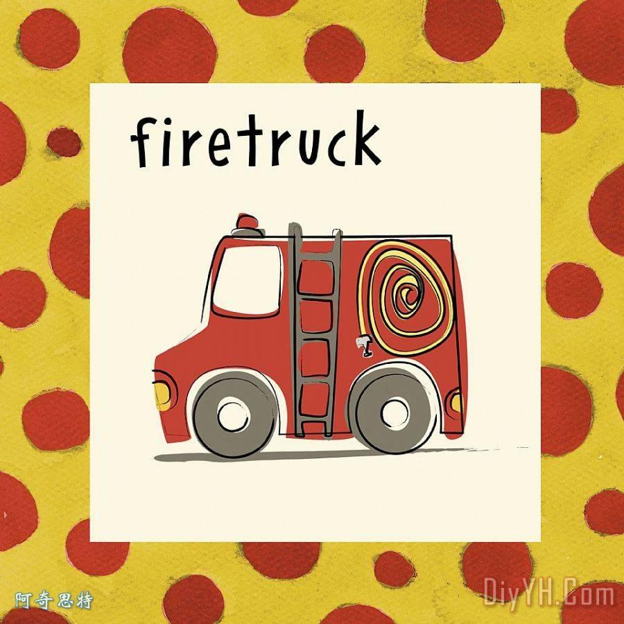 画消防车救火-救火车装饰画 人物 儿童 小孩 卡车 救火车油画定制 阿奇思特