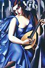 女性在蓝与吉他装饰画