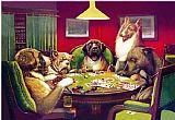 滑铁卢狗玩扑克牌装饰画