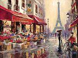 巴黎埃菲尔铁塔现代风格油画