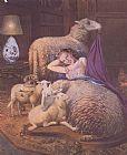 在羊的女孩斜倚装饰画