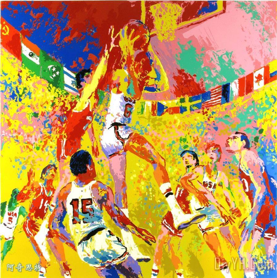 奥运篮球装饰画_运动_奥运篮球油画定制_阿奇思特图片