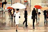 都市街景人物油画