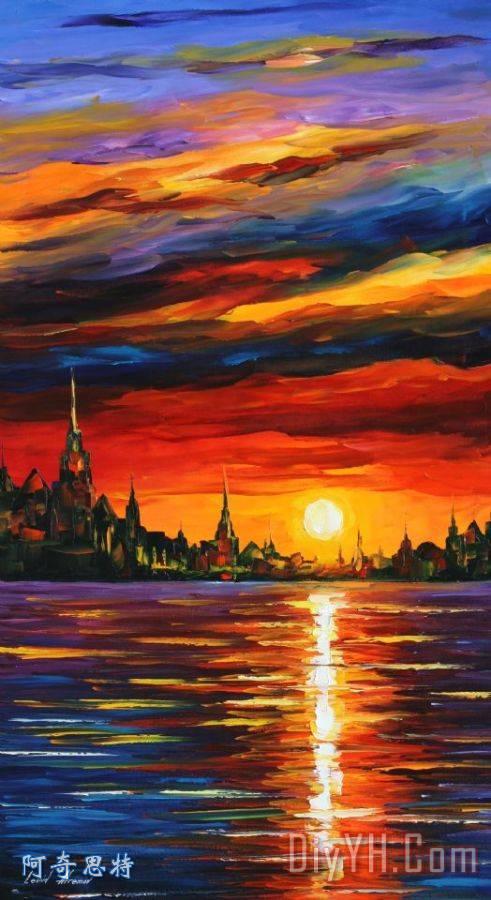 早晨的天空装饰画_风景_抽象_印象派_油画_超现实的
