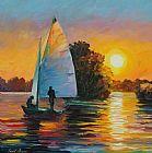 日落的湖装饰画