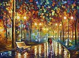 情侣漫步公园美式田园风格油画