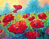 红色虞美人美式田园风格装饰画