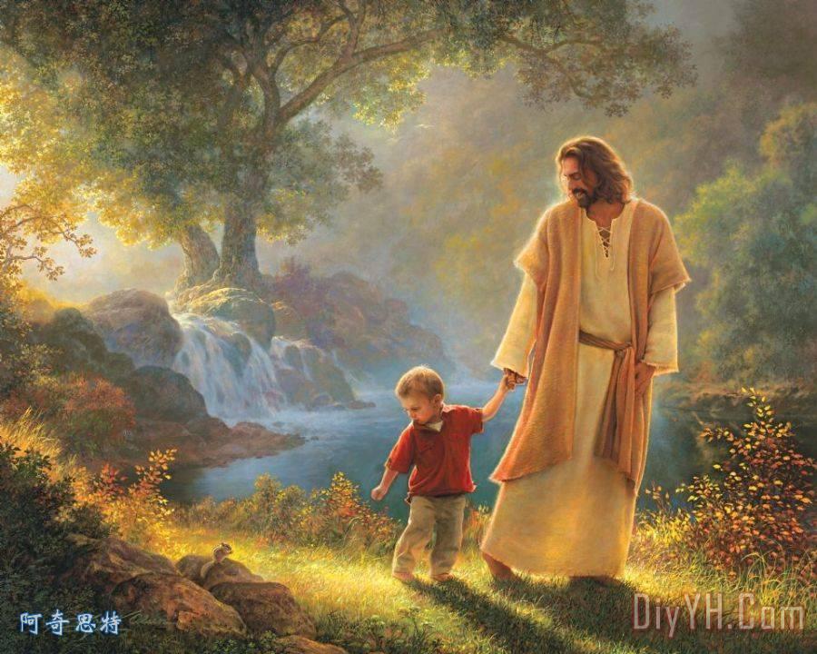 牵着我的手装饰画 人物 耶稣 基督 瀑布 基督教艺术 牵着我的手油画定