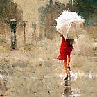 红色和白色简欧风格油画