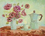 咖啡和鲜花苋菜静物装饰画