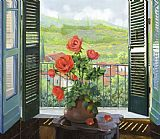 百叶窗外山谷花卉油画