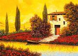 沿着罂粟花的河装饰画