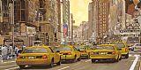 出租车在纽约沙发背景用画装饰画