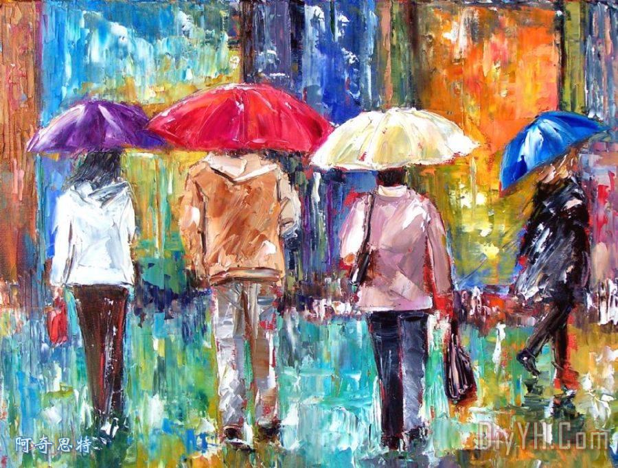 大红色雨伞 - 大红色雨伞装饰画