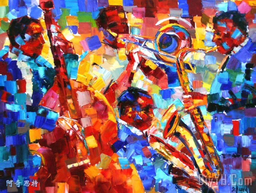 乐器 爵士乐 萨克斯管 大胆爵士四重奏油画定制 阿奇思特